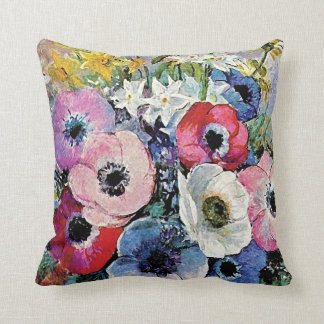 Odilon Redon Anemones Flowers - Fine Art Symbolism Throw Pillow