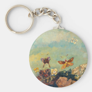 Odilon Redon Butterflies Vintage Symbolism Art Basic Round Button Keychain