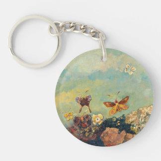 Odilon Redon Butterflies Vintage Symbolism Art Double-Sided Round Acrylic Keychain