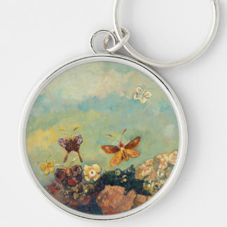 Odilon Redon Butterflies Vintage Symbolism Art Silver-Colored Round Keychain