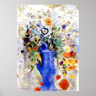 Odilon Redon - Large Bouquet in Pastel Blue Vase Poster
