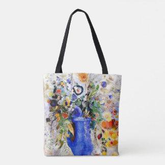 Odilon Redon - Large Bouquet in Pastel Blue Vase Tote Bag