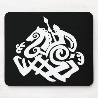 Odin and sleipnir Silhouette Mouse Pad