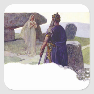 Odin in front of a Völva Square Sticker