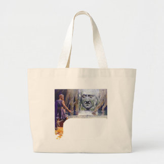 Odin in front of Mimir Large Tote Bag