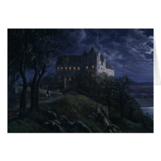 Oehme Castle Scharfenberg at Night CC0454 Card
