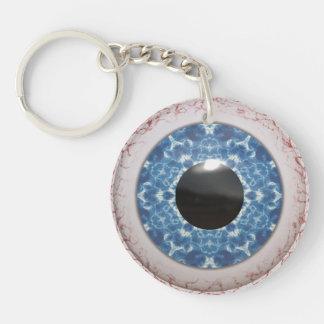 Oeil bleu injecté de sang de enflement porte-clé rond en acrylique double face