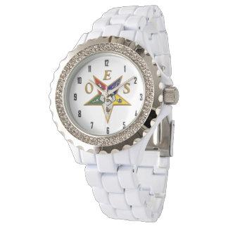 OES Custom Women's Rhinestone White Enamel Watch