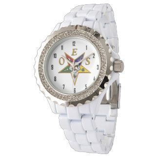 OES Custom Women's Rhinestone White Enamel Wrist Watch