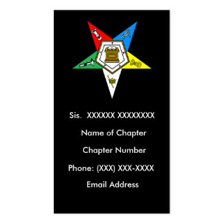 OES Order of the Easter Star Business Card Black