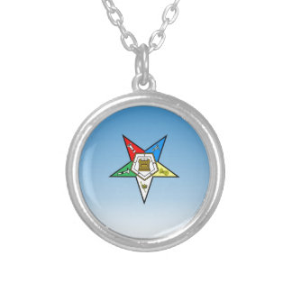 OES Order of the Eastern Star Blue Silver Plated Necklace