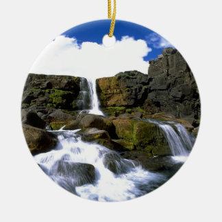 Oexarafoss  Canyon  iceland Ceramic Ornament