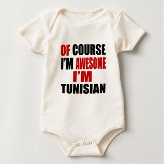 OF COURSE I AM AWESOME I AM TUNISIAN BABY BODYSUIT