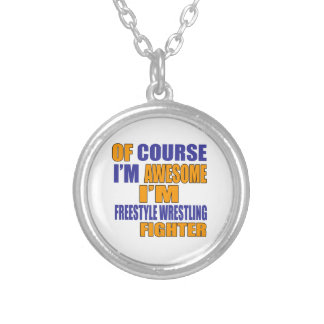 Of Course I Am Freestyle Wrestling Fighter Silver Plated Necklace