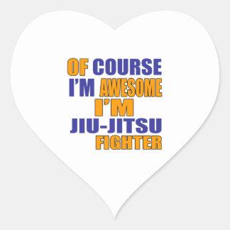 Of Course I Am Jiu Jitsu Fighter Heart Sticker