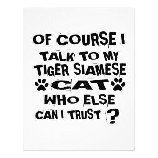 OF COURSE I TALK TO MY TIGER SIAMESE CAT DESIGNS LETTERHEAD