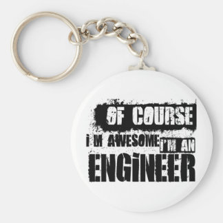 Of Course I'm Awesome I'm an Engineer Basic Round Button Keychain