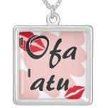 'Ofa 'atu - Tongan I love you Square Pendant Necklace
