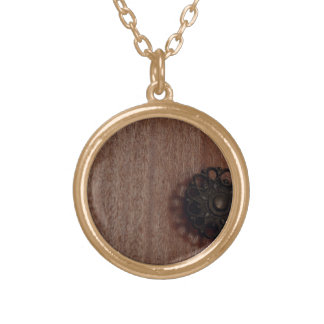 Off Centre Wood Gold Plated Necklace