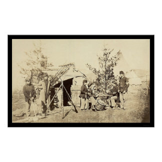 Off Duty Drummer Boys Playing Cards 1862 Poster