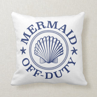 Off Duty Mermaid Throw Pillow