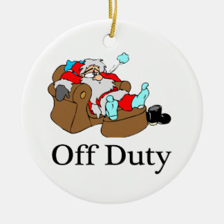Off Duty Tired Santa Ceramic Ornament