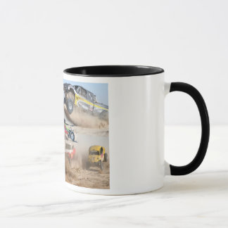 Off road mug with black trim  and handle.