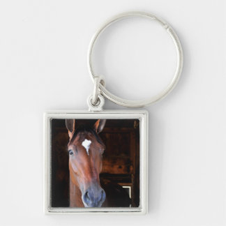 Off the Tracks Silver-Colored Square Keychain