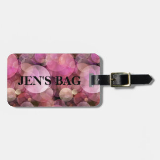 """Off We Go"" Pink Bubbles Custom Name Luggage Tag"
