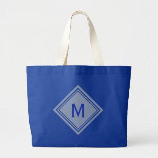 Off White and Royal Blue Diamond Monogram Large Tote Bag