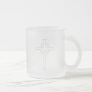 Off-White Celtic Christian Cross 10 Oz Frosted Glass Coffee Mug