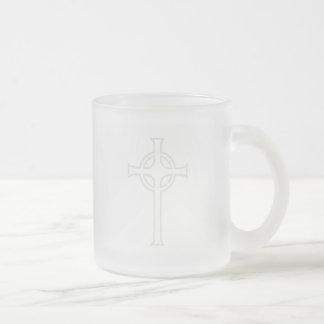 Off-White Celtic Christian Cross Frosted Glass Mug