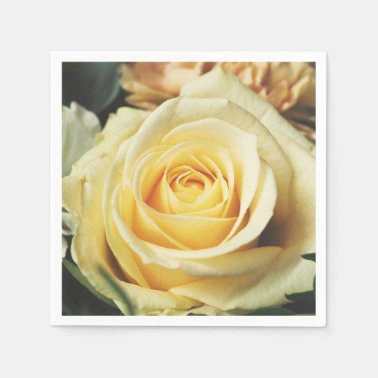 Off White Cream Rose Disposable Napkins