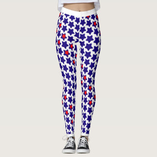 Offbeat Distorted Red White Blue Stars Leggings