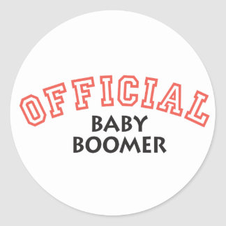 Offical Baby Boomer - Red Classic Round Sticker