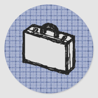 Office Briefcase or Travel Suitcase Sketch. Blue. Round Sticker