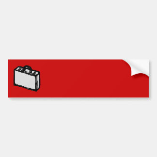 Office Briefcase or Travel Suitcase. Sketch on Red Bumper Sticker