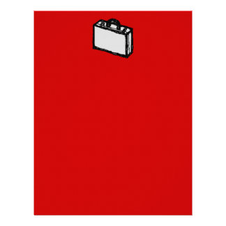 Office Briefcase or Travel Suitcase. Sketch on Red Custom Letterhead