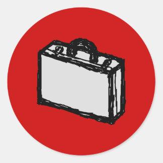 Office Briefcase or Travel Suitcase. Sketch on Red Round Sticker