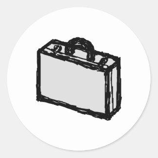 Office Briefcase or Travellers Suitcase. Sketch. Round Sticker