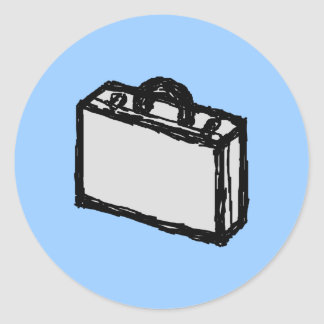 Office Briefcase or Travellers Suitcase. Sketch. Round Sticker