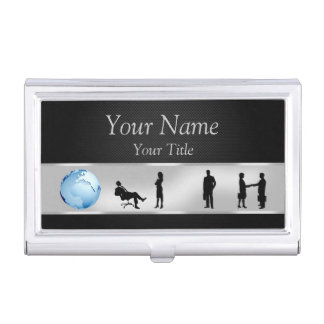 Office Business People Globe Business Card Holder