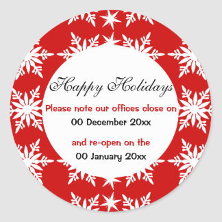 Office closes opens christmas holidays classic round sticker