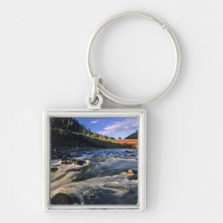 Office Covered Bridge the longest in Oregon at Silver-Colored Square Keychain