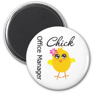 Office Manager Chick 2 Inch Round Magnet