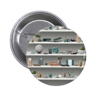 Office Shelves Wellness Teal 2 Inch Round Button