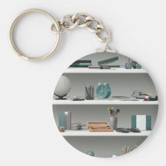 Office Shelves Wellness Teal Keychain