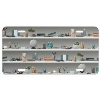 Office Shelves Wellness Teal License Plate