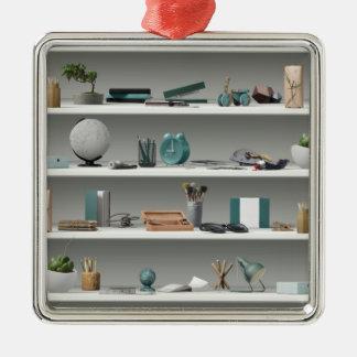 Office Shelves Wellness Teal Metal Ornament