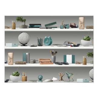 Office Shelves Wellness Teal Photo Print